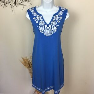 Embroidered CHELSEA AND THEODORE soft blue dress